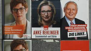 Saarland-Wahl: Plakate von Annegret Kramp-Karrenbauer, Anke Rehlinger und Oskar Lafontaine