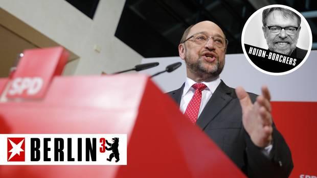Kommentar zur Saarland -Wahl: Schulz-Zug gebremst - Martin Schulz am Rednerpult