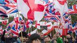Britain First. Nach dem Brexit erleben die Nationalisten – wie hier bei einem Marsch in Telford – einen Aufschwung.