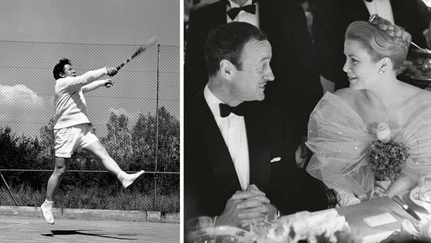 Peter Ustinov, David Niven und Grace Kelly in den 1950er Jahren an der Côtes d'Azur