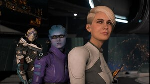 Mass Effect: Andromeda Die Crew von Ryder bei einer Bespechung