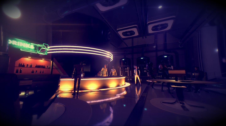 Mass Effect: Andromeda Ryder steht in der Bar auf der Raumstation Nexus