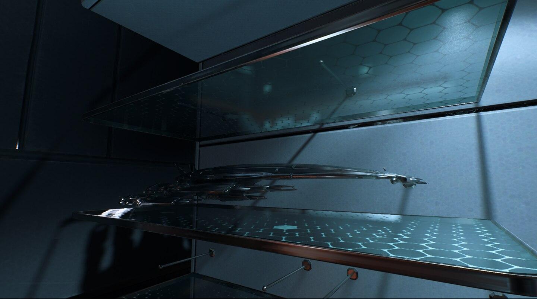 Mass Effect: Andromeda die Normandy steht als Modell im Regal von Ryder