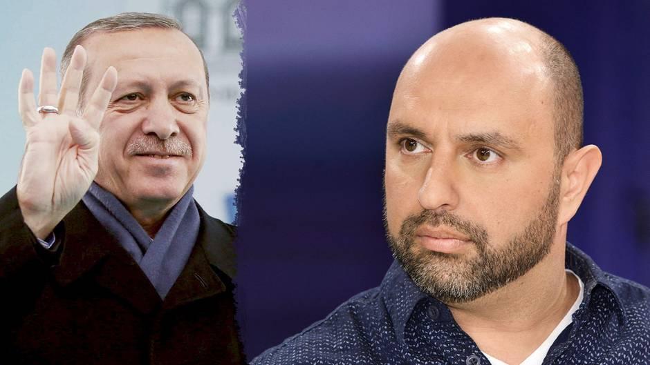 Bildkombo zeigt Serdar Somuncu (r.) und Erdogan