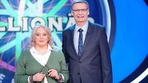 """""""Wer wird Millionär""""-Kandidatin Stella Böhm neben Günther Jauch"""
