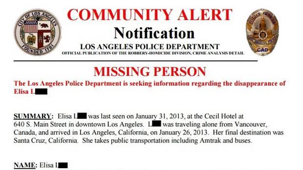 Ein Fahndungszettel der Polizei Los Angeles zu Elisa L.