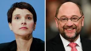 Weniger Zustimmung für die AfD und Frauke Petry, die SPD und Martin Schulz legen leicht zu