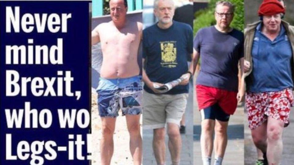 Bei männlichen Politkern scheint das Interesse an schönen Beinen absurd - wie diese Montage zeigt.