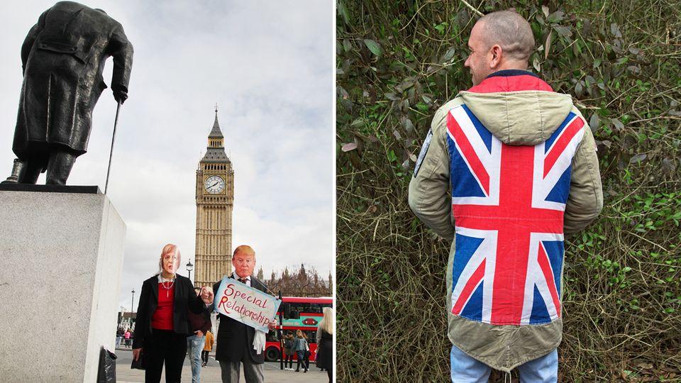 Geteiltes Land: Gewappnet mit dem Union Jack, erleichtert sich dieser Mann während eines Marsches für Großbritannien (r.). Gegen Kleinstaaterei und Populismus halten Demonstranten im Regierungsviertel in London Händchen (l.)