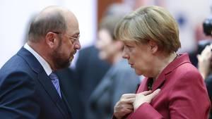 Martin Schulz und Angela Merkel: Rivalen um die Macht - aber Profis im Alltag.