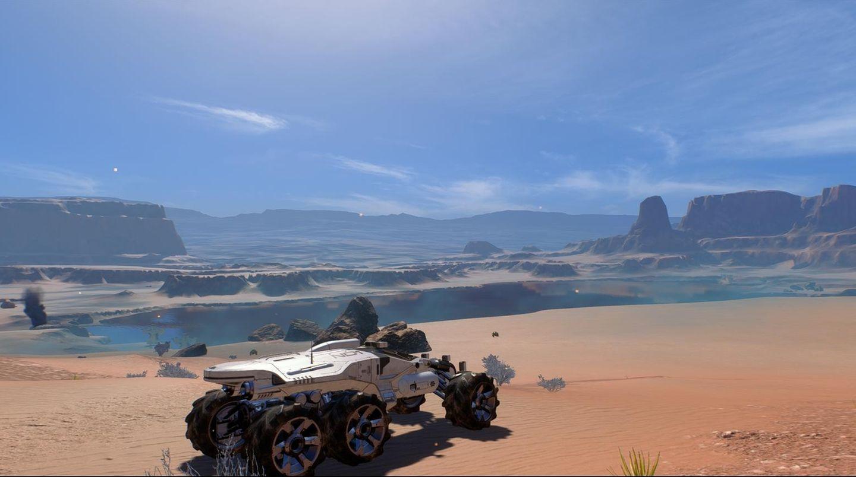 Mass Effect: Andromeda Test das Geländefahrzeug Nomand in der Wüste auf Eos