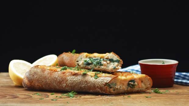 Lachs Spinat Baguette