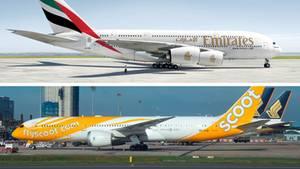 Ein Airbus A380 von Emirates und eine Boeing 787 von Scoot