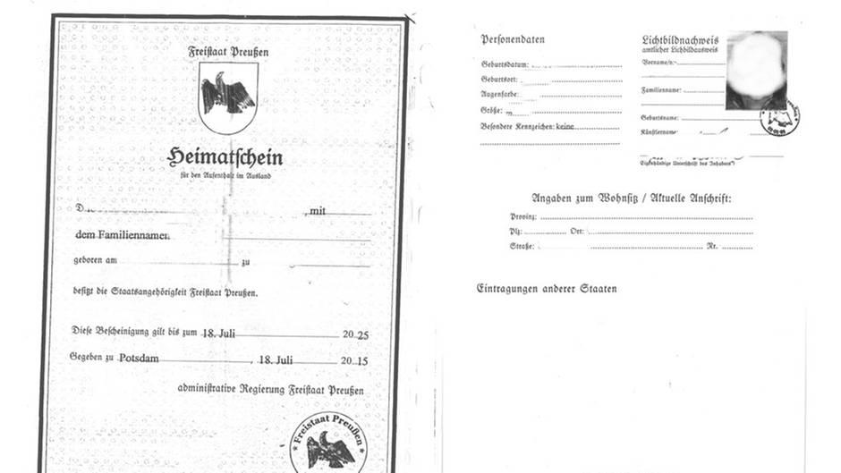 """Phantasiedokument """"Heimatschein für den Aufenthalt im Ausland"""""""