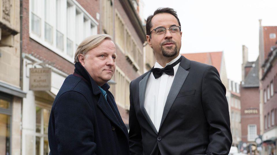 Axel Prahl als Kommissar Frank Thiel und Jan Josef Liefers als Prof. Karl-Friedrich Boerne.