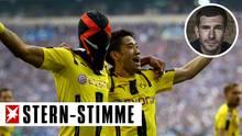 BVB-Star Pierre-Emerick Aubameyang (l.) nutzte seinen Torerfolg für eine Werbeaktion