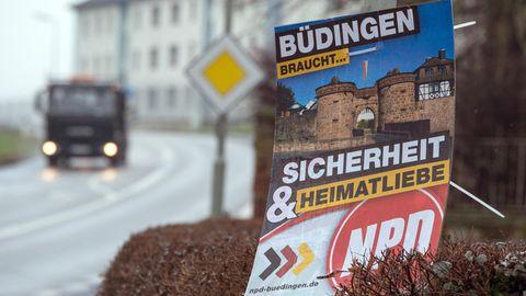 NPD-Werbeplakat in Büdingen