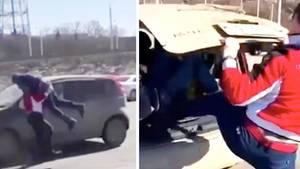 Sie schnappte ihn und stopfte ihn in den Van.