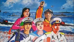 Zu sehen ist ein Plakat, auf dem in bunten Farben frohe vietnamesische Matrosen abgebildet sind.