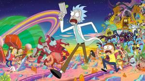 Zu sehen ist, wie Rick und Morty vor einem Mob aus Aliens und Monstern fliehen.