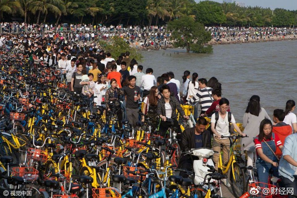 In der chinesischen Stadt Shenzhen hat ein Überfluss an Shared-Bikes den Bay Park eingenommen.