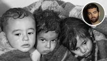 Drei Kinder in Chan Scheichun, Syrien.