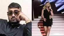 Der Offenbacher Rapper Haftbefehl mit Sonnenbrille und Helene Fischer im heißen schwarzen Kleid.
