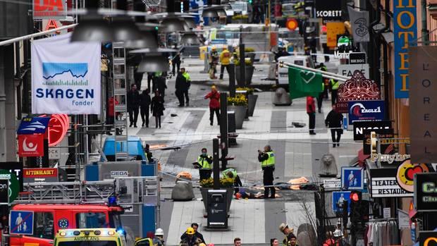 Anschlag in Stockholms Einkaufsstraße