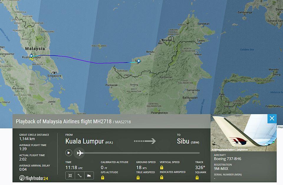 Die Flugstrecke von MH2718 am Samstagabend