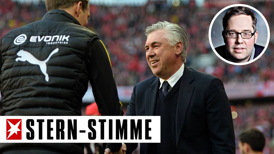 Bayern-Trainer Carlo Ancelotti (r.) und BVB-Trainer Thomas Tuchel begrüßen sich vor dem Bundesliga-Spiel, das für die Bayern nicht die große Bedeutung gehabt haben dürfte