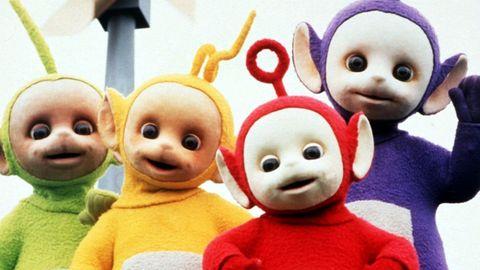 Die vier Teletubbies: Tinky Winky, Dipsy, Laa Laa und Po