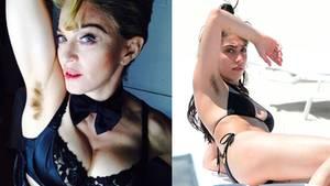 Ein Bild von Madonna und ihrer Tochter, das beide mit unrasierten Achseln zeigt.
