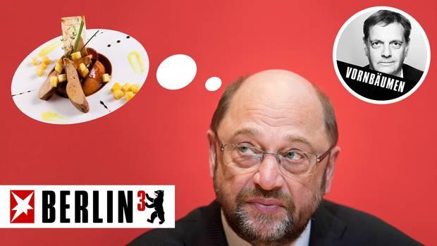 Martin Schulz mag Gänsestopfleber, das wiederum mögen manche seiner Wähler nicht ...