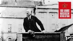Lenin hält Rede in Moskau