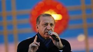 Türkei-Staatspräsident Recep Tayyip Erdogan bei einer Rede