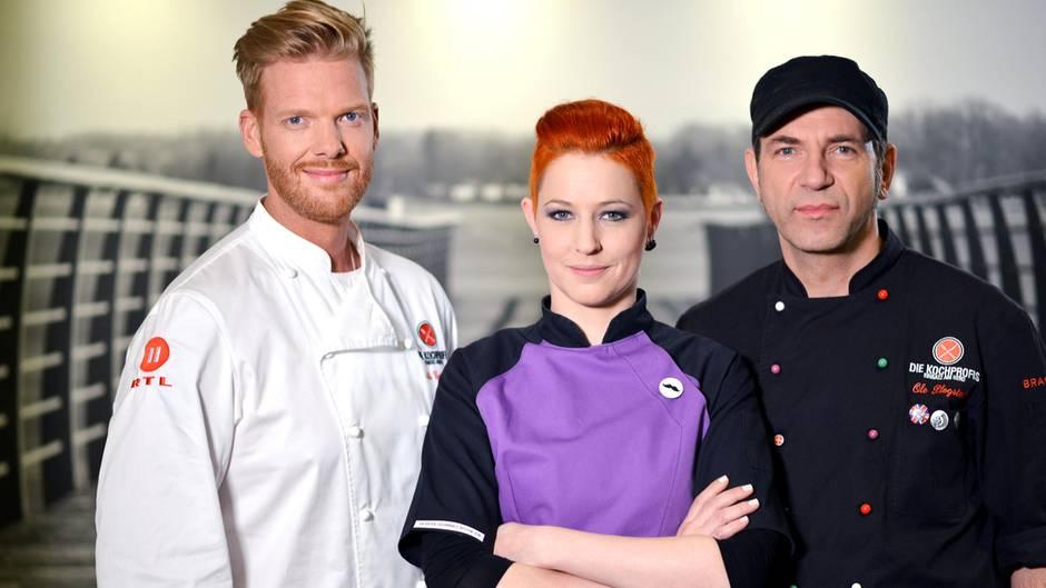 """Die """"Kochprofis"""" Nils Egtermeyer, Meta Hiltebrand und Ole Plogstedt (von links) seien auch nur gutbezahlte Schauspieler. So der Vorwurf einer Wirtin, die nach der Sendung ihr Restaurant schließen muss."""