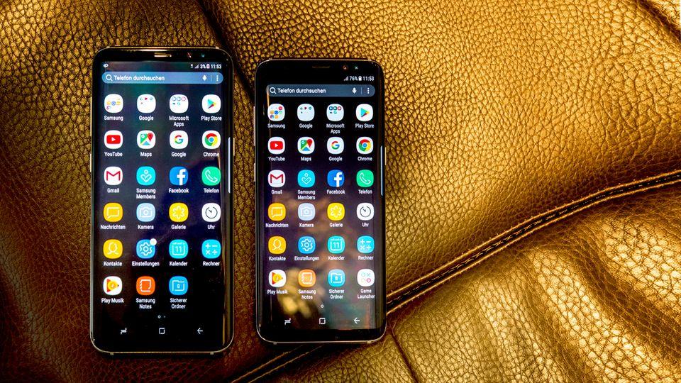 Links das Plus-Modell (6,2 Zoll), rechts das normale Galaxy S8 (5,8 Zoll).
