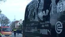 Der Mannschaftsbus des BVB nach dem Bombenanschlag
