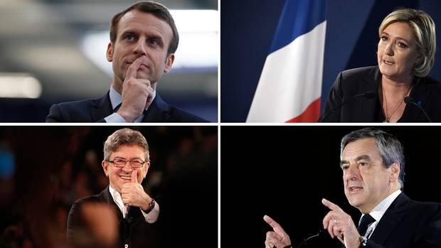 Le Pen, Melenchon, Fillon, Macron