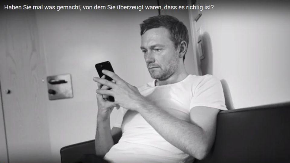 Christian Lindner in seinem neuen Werbespot