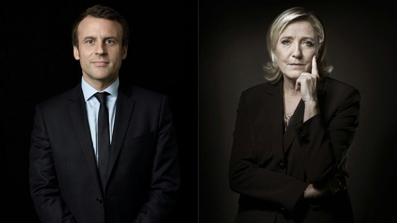 Zwei Bilder mit schwarzem Hintergrund zeigen die französischen Präsidentschaftskandidaten Emmanuel Macron und Marine Le Pen