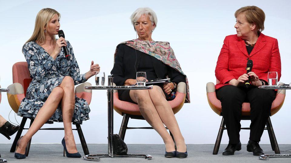 Präsidententochter Ivanka Trump, IWF-Chefin Christine Lagarde und Kanzlerin Angela Merkel auf dem Frauengipfel W20 in Berlin