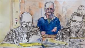 Ein Zeichnung der Gerichtsverhandlung mit dem angeklagten Serienmörder