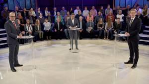 NDR-Wahlarena mit SPD-Ministerpräsident Torsten Albig, Moderator Andreas Cichowicz und CDU-Herausforderer Daniel Günther