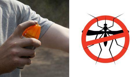 Ein Mann sprüht sich ein Spray zum Schutz vor Mückenstichen auf.