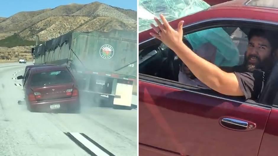 Unglaublicher Unfall: Lkw schleift Auto kilometerweit mit sich - Trucker bemerkt nichts