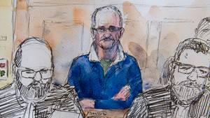 Der französische Serienmörder Francis Heaulme auf einer Zeichnung vor Gericht