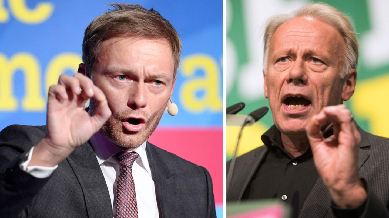 FDP-Chef Christian Lindner (l.) und Grünen-Politiker Jürgen Trittin