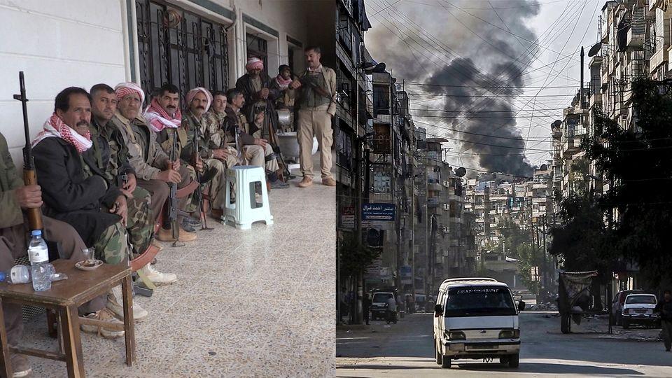 Syrien Krieg Kämpfer Bombeneinschlag