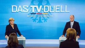 Wahl 2017: Angela Merkel und Peer Steinbrück beim TV-Duell in 2013